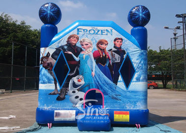 Commercial Grade Kids Frozen Inflatable Bounce Houses With Pillars inside Obstacles For Parties