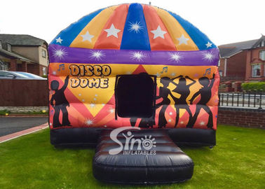 Kids N adults party square disco dome bouncy castle digitally printed completely with lights hook inside N top