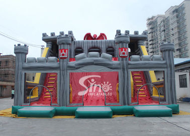12x10m commercial kids giant inflatable medieval castle slide with tunnel N obstacle course from Sino Inflatables