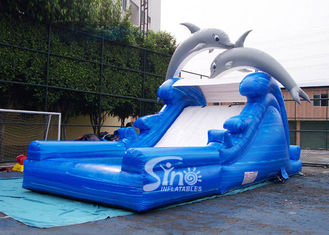 5m high cute dolphin kids inflatable water slide with pool meeting with EN14960 from China inflatable factory