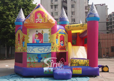Commerical grade kids inflatable princess combo castle with slide N basketball inside made of lead free material