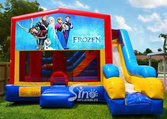 Colorful 7 In 1 Frozen Inflatable Bouncy castle With Slide N Obstacles for kids fun